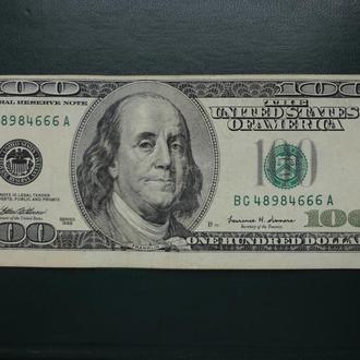 100 долларов 1999, США, смещение рамки вверх + интересный номер + надпечатка. В коллекцию