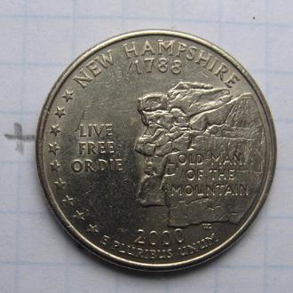 """США, 25 центов 2000 г. (НЬЮ ХЭМПШИР) """"Р""""."""