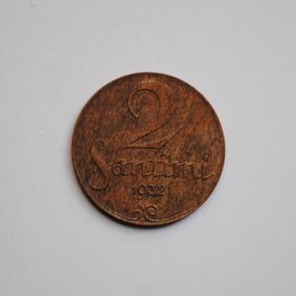 Латвия 2 сантима 1932 г., UNC, 'Первая Республика (1922-1940)'