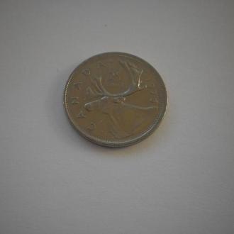Канада. Квотер. 25 центів. Фауна. Великий північний олень. 1975 рік. Нечаста монета. Недорого.