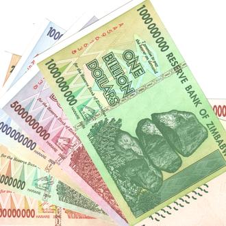 Зимбабве все миллиарды 1-5-10-20-50 одним набором  в UNC из пачки