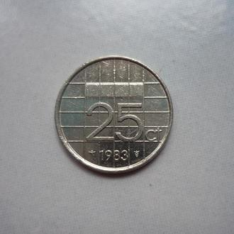 Нидерланды 25 центов 1983