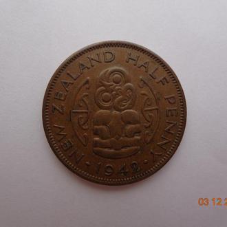 """Новая Зеландия 1/2 пенни 1942 George VI """"Hei Tiki"""" СУПЕР состояние очень редкая"""