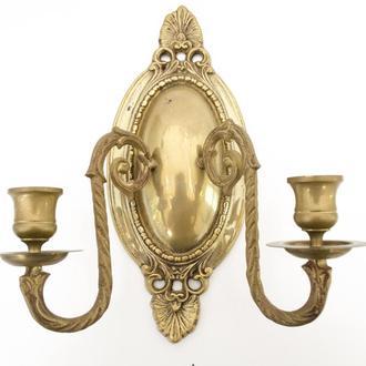 Бронзовый настенный канделябр, подсвечник, на две свечи, бронза, Германия 0087 пд