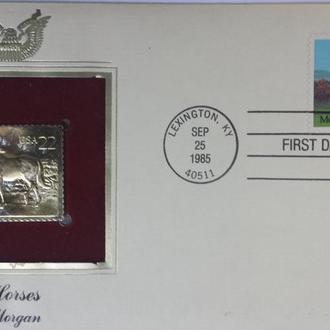 конверт первого дня США-породы лошадей