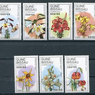 Гвинея-Бисау.1989г. Флора. Цветы. Лилии. Полная серия. MNH