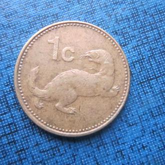 монета 1 цент Мальта 1986 фауна выдра корабль