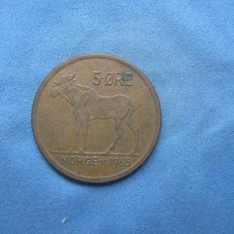 Норвегия 5 эре 1965 год