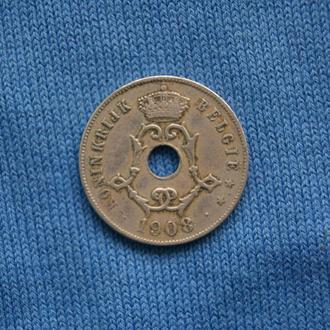 Бельгия  25 сантим 1908 г
