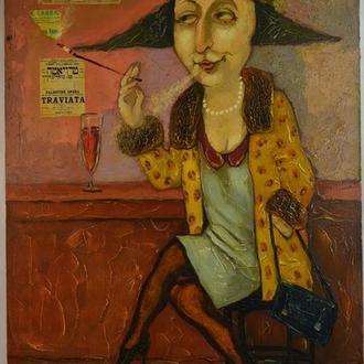 Подпись Вутянов А. ,,Дама с папиросой,, 2010. Холст, масло. Размеры 90х60,5 см.