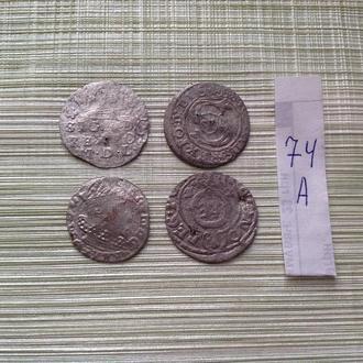 4 серебрянных средневековых монет . Нечищенные