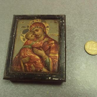 Икона божья матерь владимирская богородица 6,6 х 5,3 х 1,5 см №387