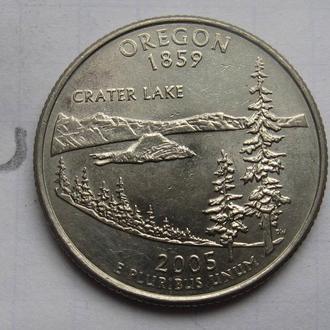 США, 25 центов 2005 года (ШТАТ ОРЕГОН).