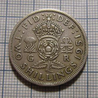 Великобритания, 2 шиллинга 1951 г. Георг VI.