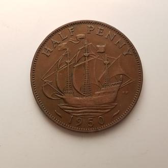 Великобритании 1/2 пенни 1950 год