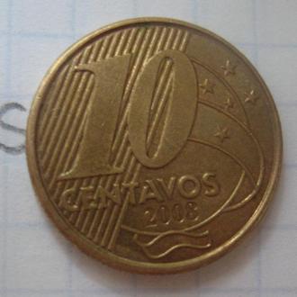 БРАЗИЛИЯ. 10 сентаво 2008 г.