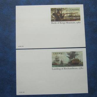 2 карточки с оригинальной маркой США 1980 Война за независимость корабль солдат