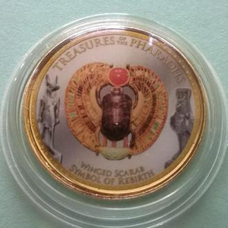 1 фунт ЕГИПЕТ позолоченный с цветным рисунком Сокровище фараон . : Крылатый скарабей - Возрождение
