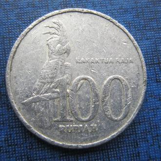 монета 100 рупий Индонезия 2000 фауна попугай