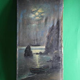 Морской пейзаж ночью  19 век.