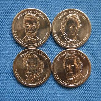 США  1 доллар 2010 г  подборка 4 шт  UNC из рола
