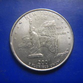 США 25 центов Нью-Йорк P 2001