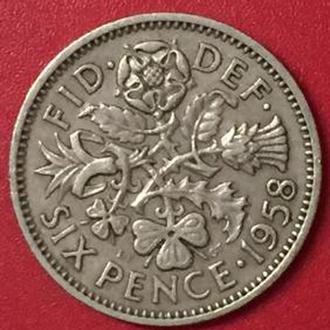 6 пенсов 1958 год Великобритания