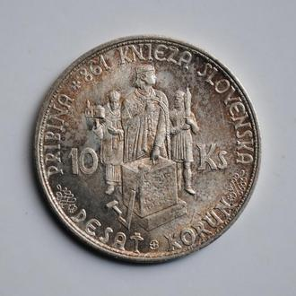 Словакия 10 крон 1944 г., UNC, 'Республика (1939 - 1945)' БЕЗ КРЕСТА