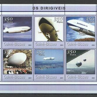Гвинея Бисау 2001 ** Авиация Дирижабли Цеппелины МЛ MNH