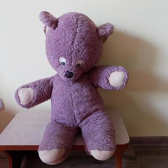 Медведь плюшевый ватный СССР 75 см 60-е годы солома