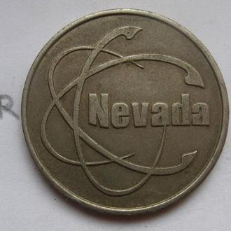"""ИГРАЛЬНЫЙ ЖЕТОН """"NEVADA"""" (в белом металле)."""