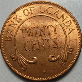 Уганда 20 центов 1966 состояние