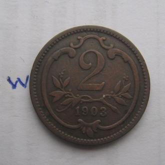 АВСТРО-ВЕНГРИЯ. 2 филлера 1903 года.