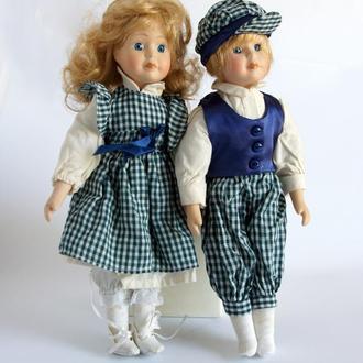 Антикварные фарфоровые куклы Сестричка и Братик 1970-е Germany