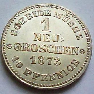 Германия. Саксония 1 нью грош 1873 год