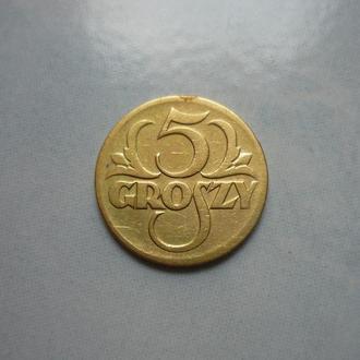 Польша 5 грошей 1923 латунь VF=2$