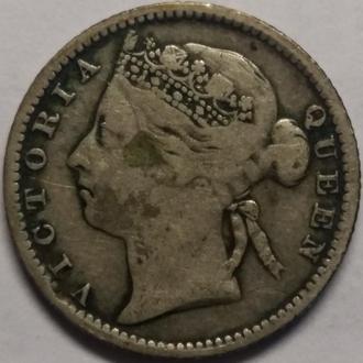 Стрейтс-Сетлментс 10 центов 1891 год СЕРЕБРО!! СОСТОЯНИЕ!!