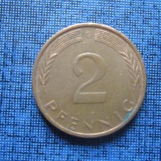 Монета 2 пфеннига ФРГ 1974 G