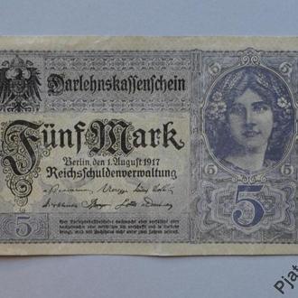 Германия 5 марок 1917 г XF N553