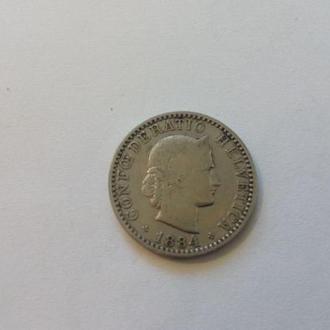 Швейцария 20 раппенов 1884 год. (швейц-3).  Еще 100 лотов!