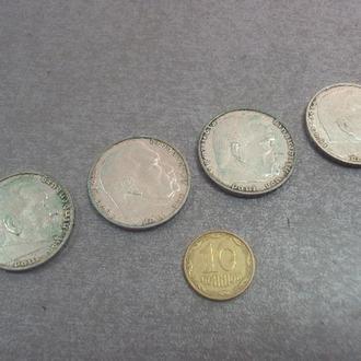 германия 2 марки 1937 1938 1939 год свастика серебро лот 4 шт №358