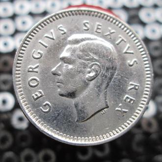 3 пенса 1948г.Южная Африка..Серебро.