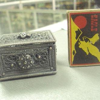 шкатулка скань мельхиор серебро вес 69,48 г 38х52х32 мм №7