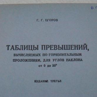 Таблицы превышений- Г.Г. Егоров, Геодезиздат 1949 год