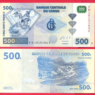 Боны Африка Конго 500 франков 2013 г.