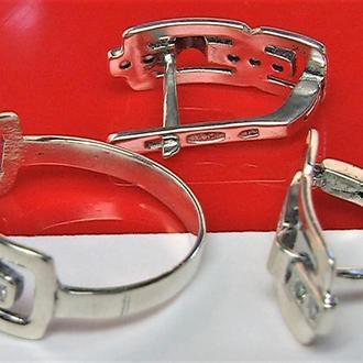 Кольцо перстень серьги серебро 925 проба 5,12 гр. 18 размер