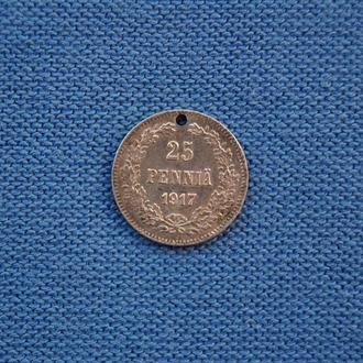 Россия  для Финляндии 25 пенни  1917 г   Николай II  Серебро