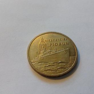Польша 2 злотых 2012 год Эсминец «Piorun» (Молния). Корабли. (поль2-8). Еще 100 лотов!