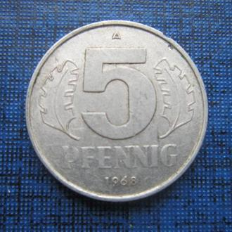 монета 5 пфеннигов ГДР 1968