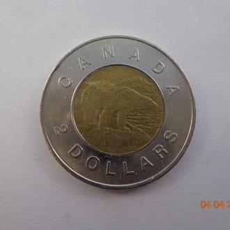 """Канада 2 доллара 1996 Elizabeth II """"Polar bear"""" отличное состояние"""